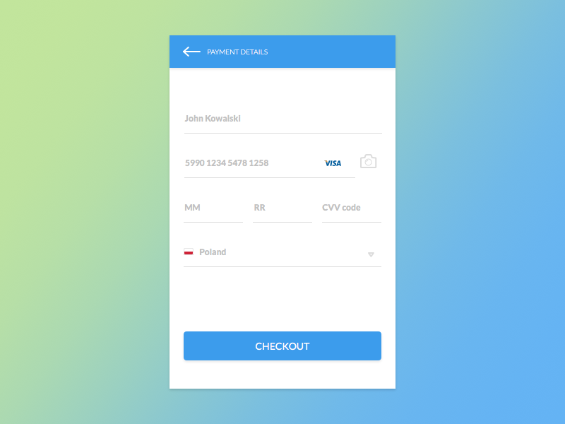 Credit Card Checkout – MaterialUp