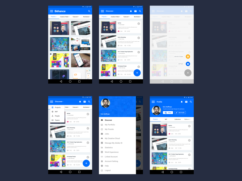 Behance app with material design materialup Architecture designing app
