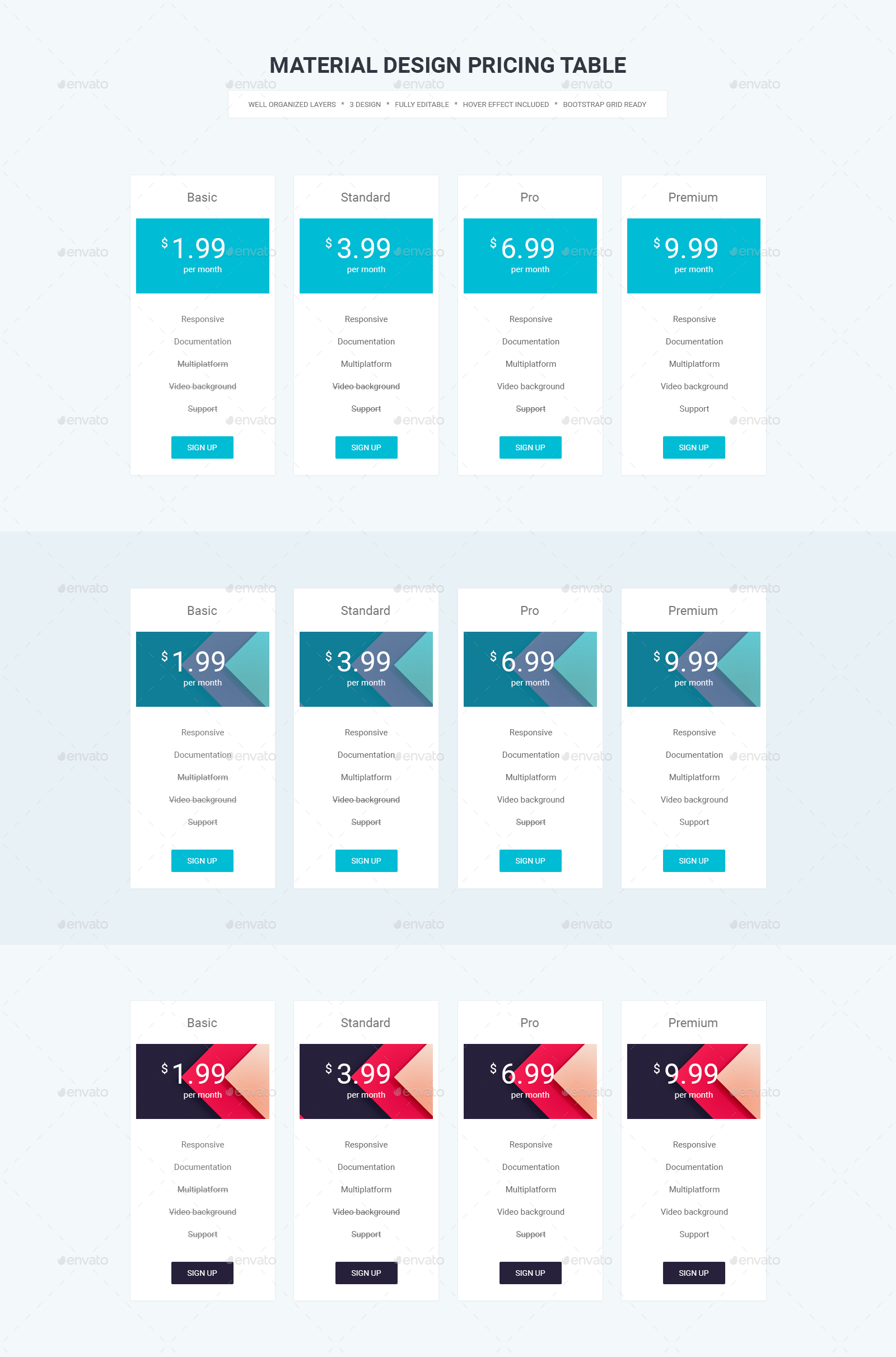 Material design pricing table materialup for Material design table