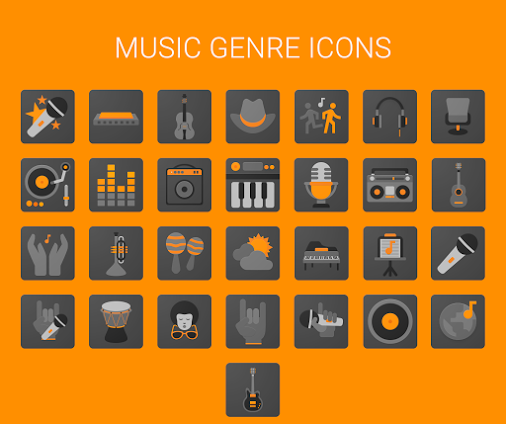 Music genre icons – MaterialUp