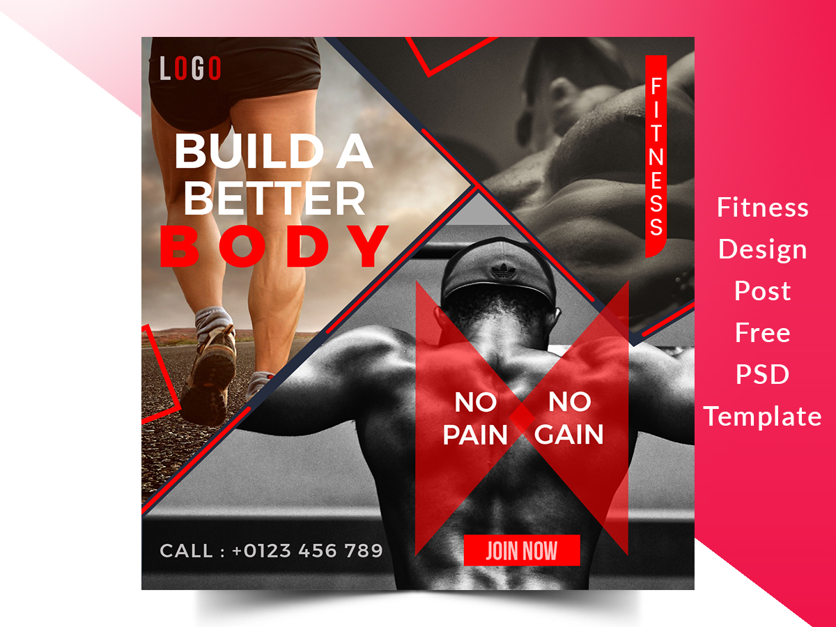 Gym Fitness Social Media Square Web Banner Free Design Template Search By Muzli