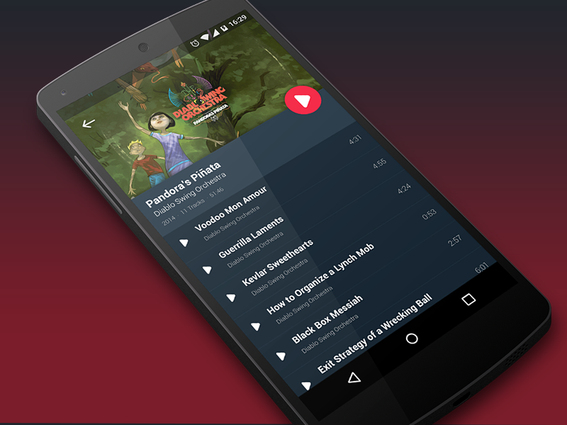 Music Player Android L Concept Uplabs