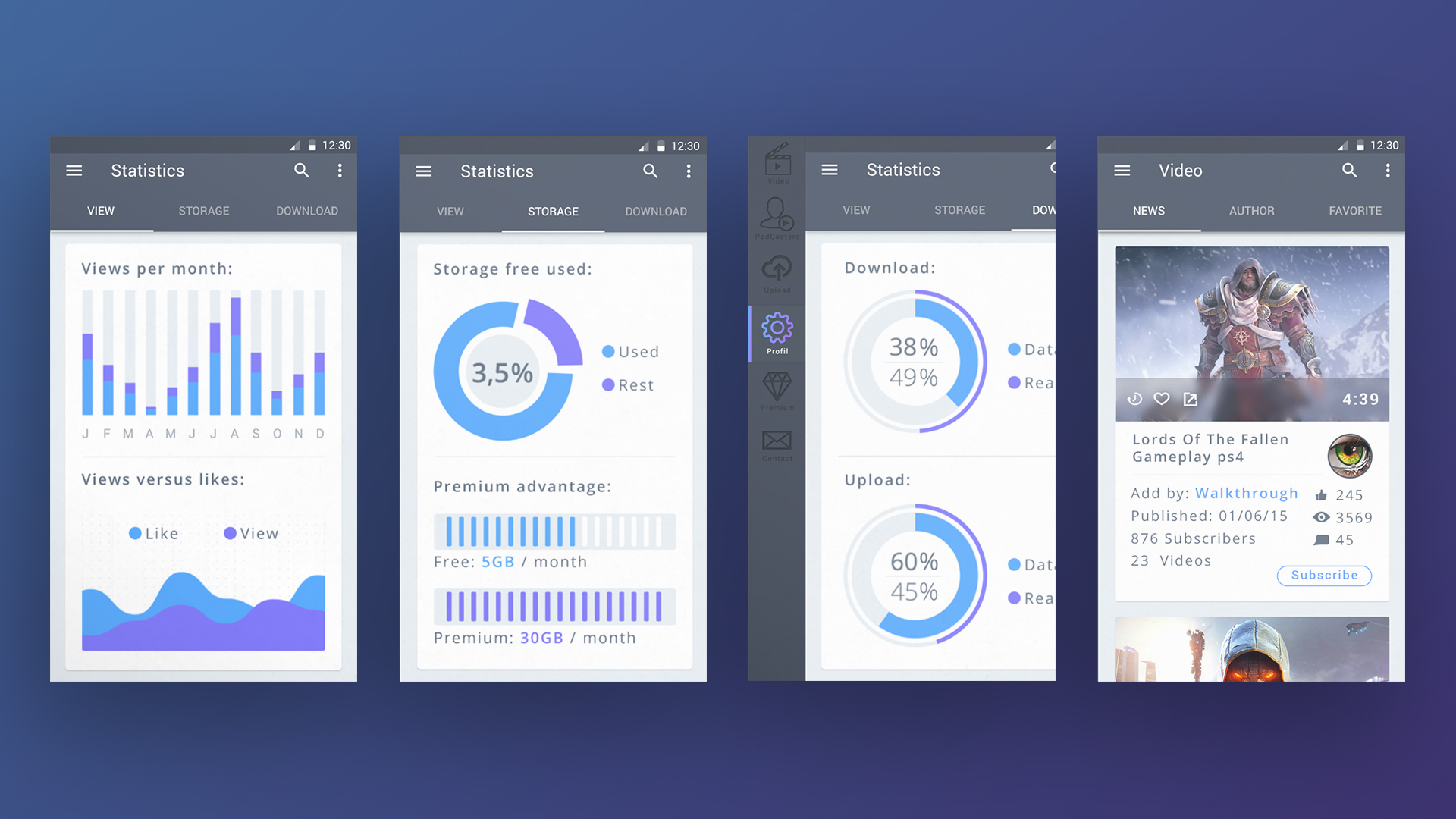 Video Dashboard App Animation Materialup