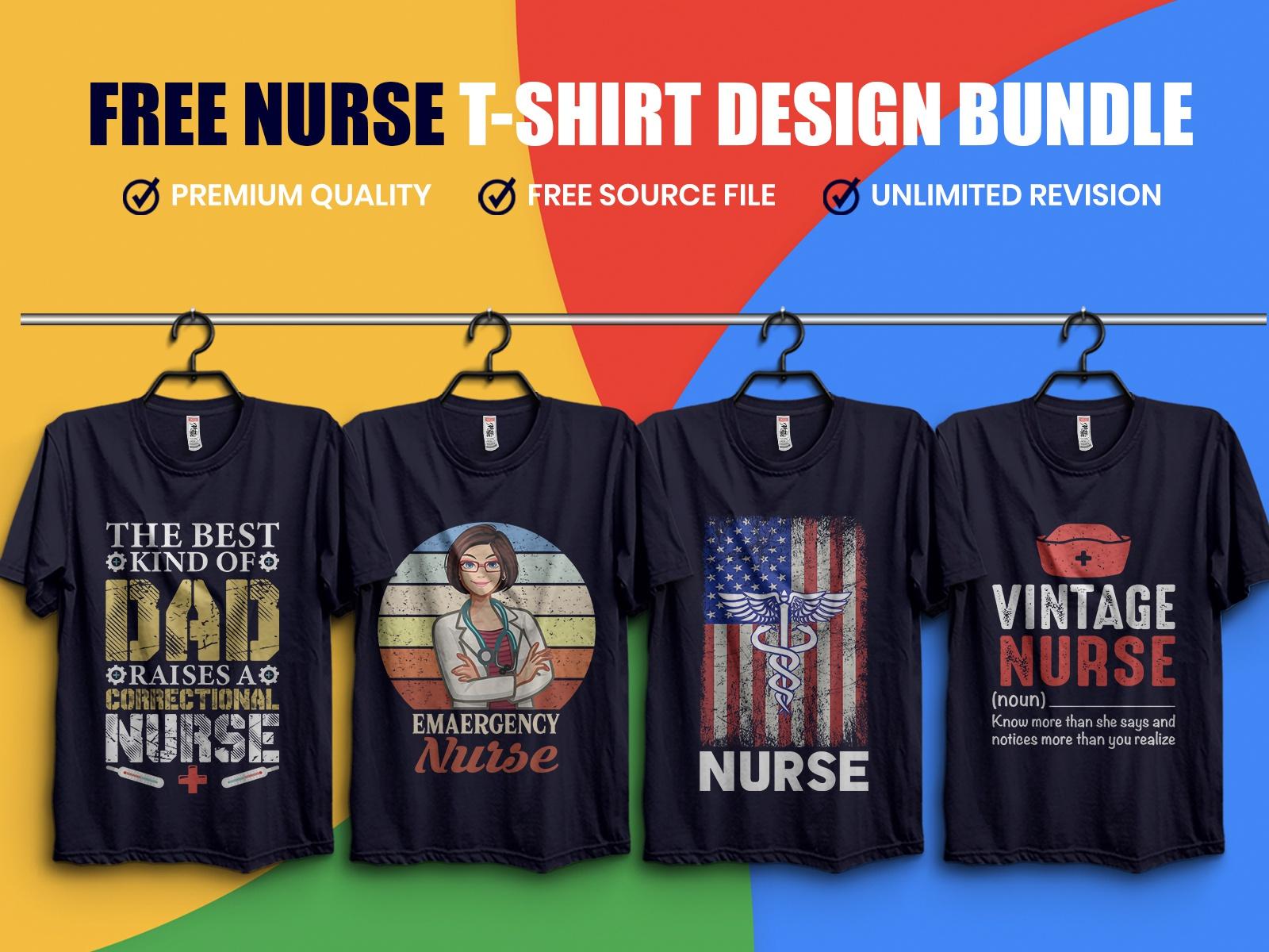 Nurse T-Shirt Design Bundle Free Download - UpLabs