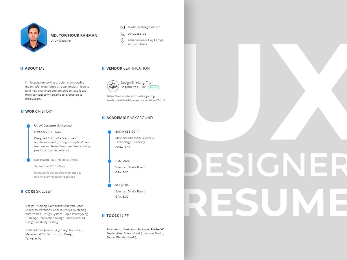 Ux Designer Resume Template Uplabs