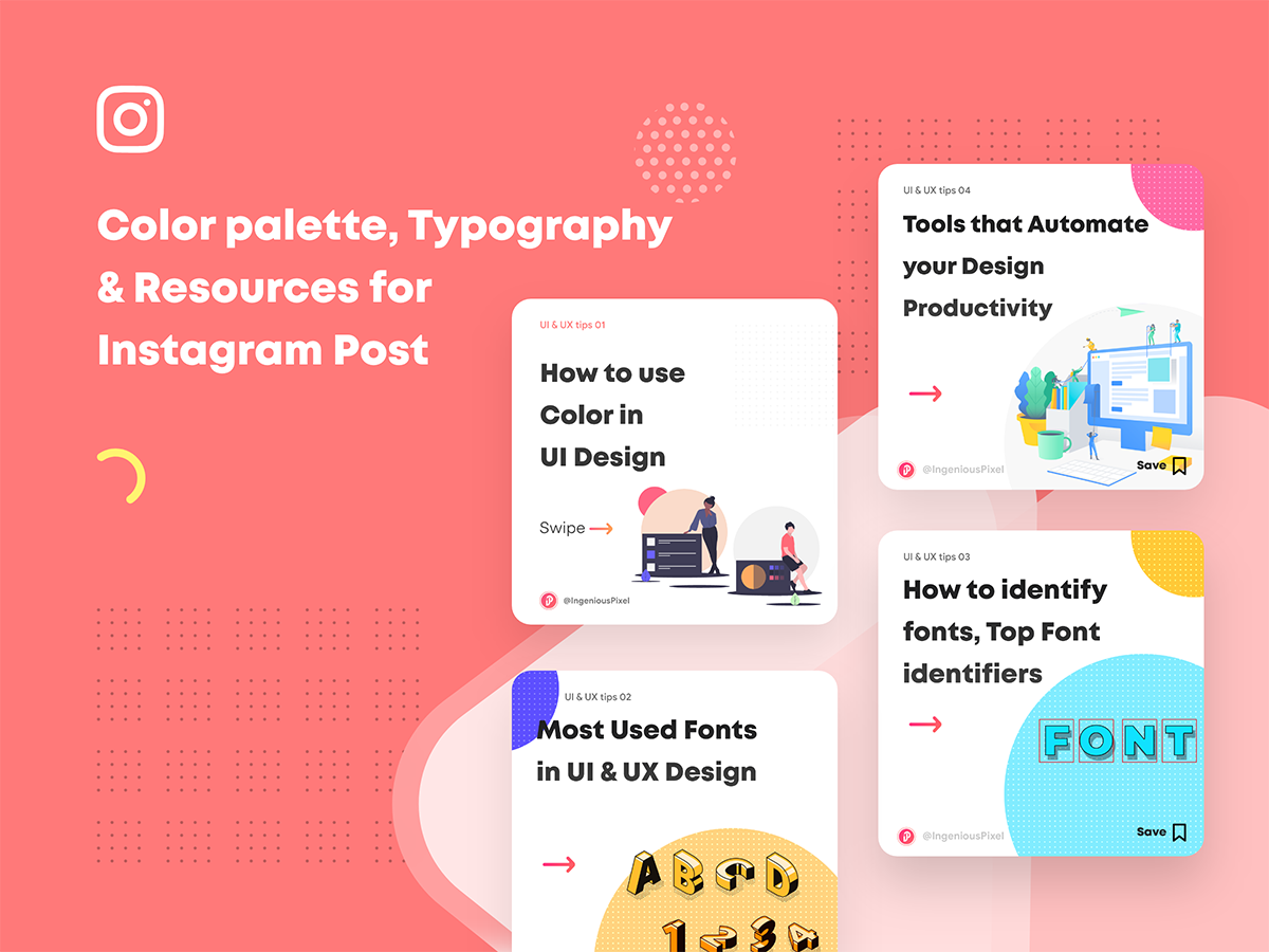 Color Palette Typography Resources For Instagram Post Uplabs