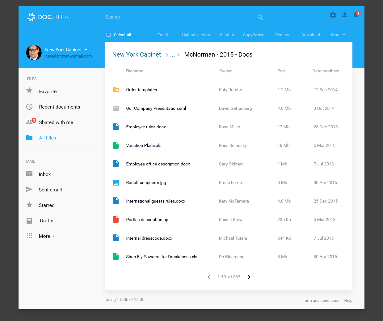 Document management system materialup for Material design table