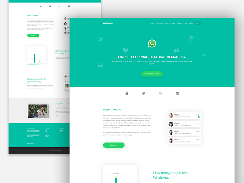WhatsApp : App Landing Page - SiteUp