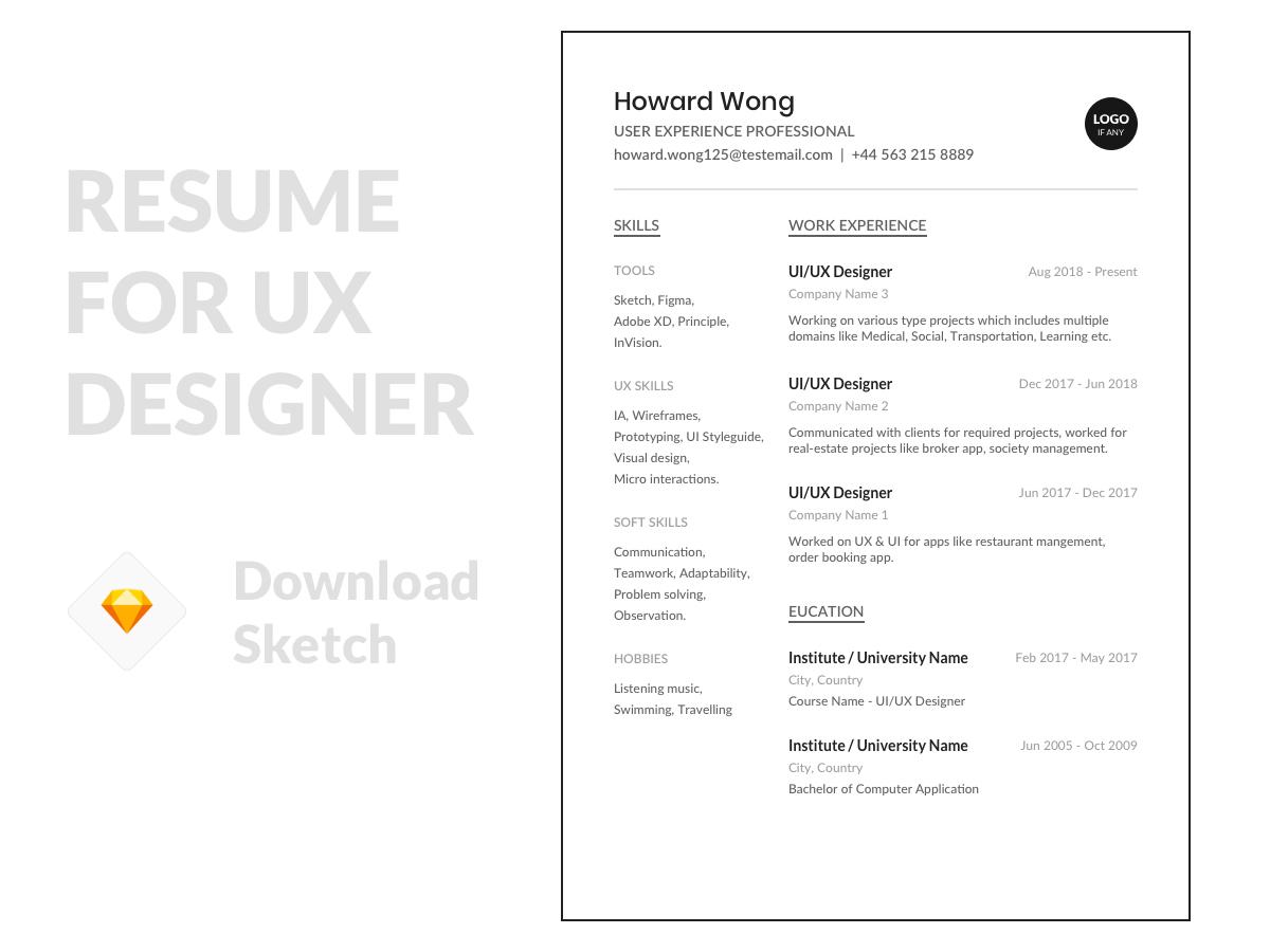 Minimal Resume Template Uplabs
