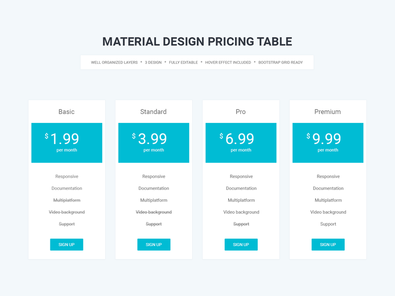 Material design pricing table uplabs for Pricing table design