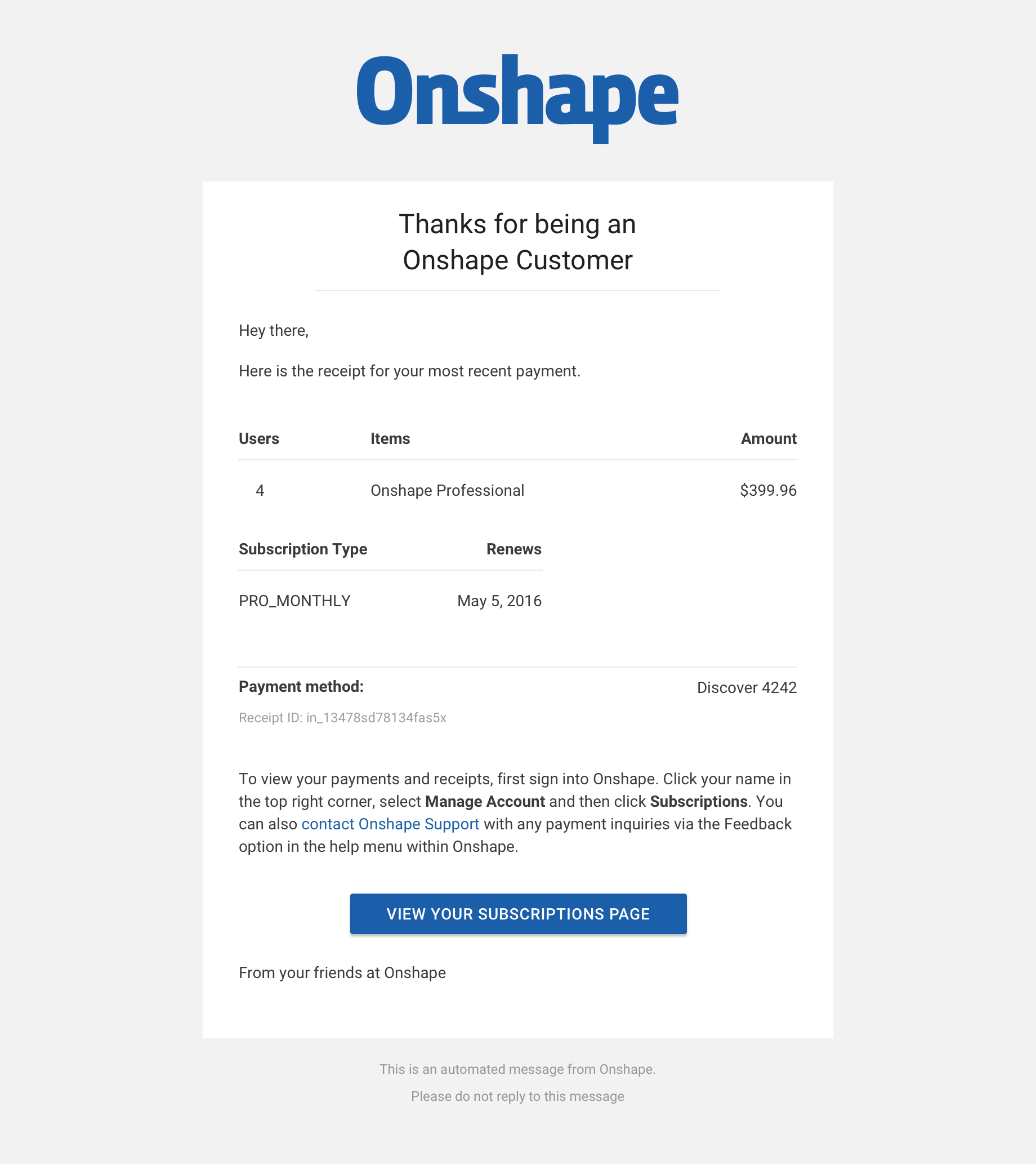 onshape subscription email receipt - Email Receipt