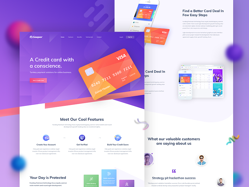 Freebie - Credit card Landing Page Design - UpLabs