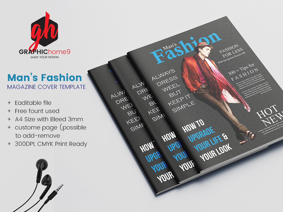 Man S Fashion Magazine Cover Page Design Uplabs