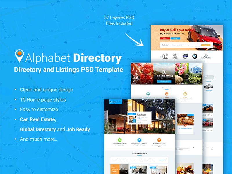 Alphabet Directory and Listings PSD Template - Uplabs