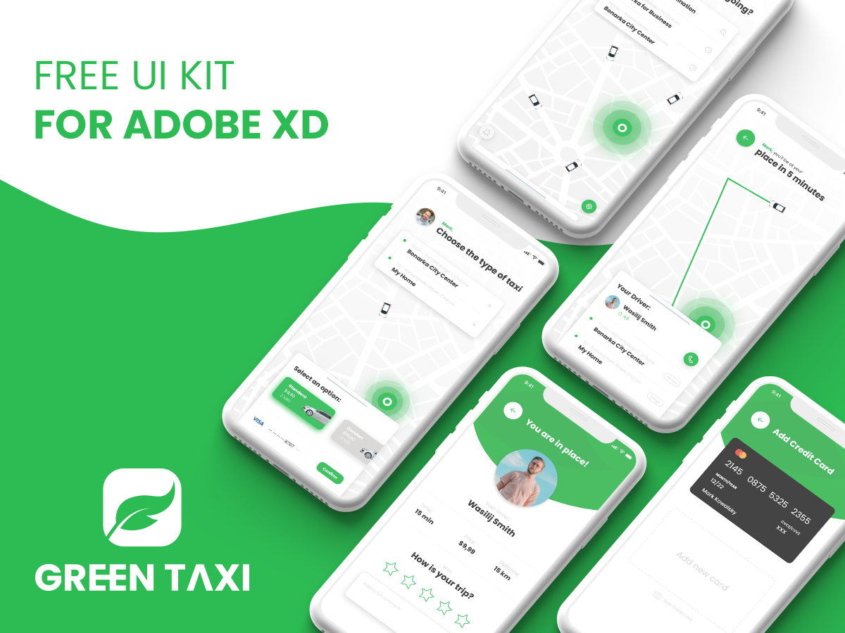 Green Taxi - Free UI Kit for Adobe XD - UpLabs