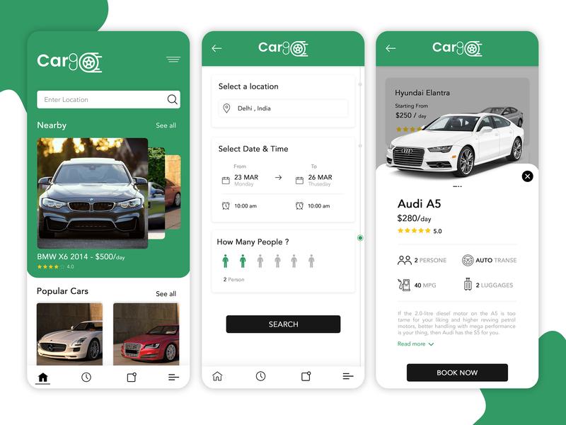 Car Rental App UI Concept - UpLabs