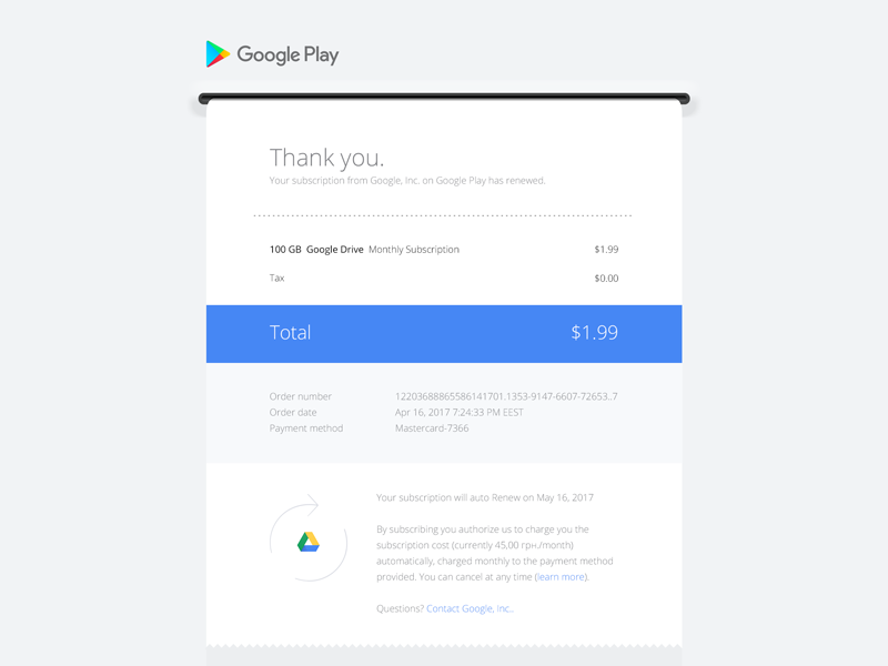 Google Play Email Receipt Uplabs