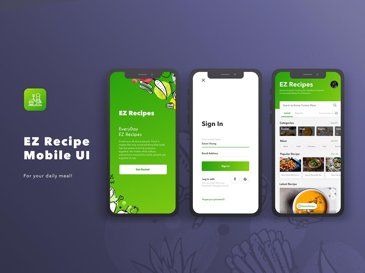 Ez Recipes App Ui Free Download Sketch File Search By Muzli