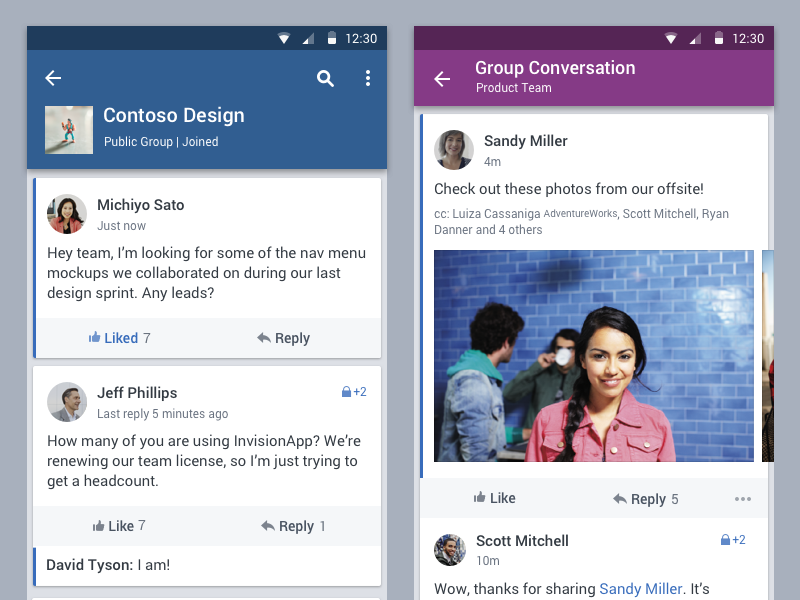 Yammer Android App New Grid Visual Standards Uplabs