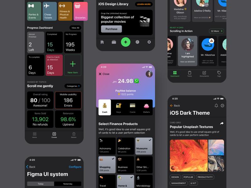 iOS UI Kit For Figma  Dark mode | Search by Muzli