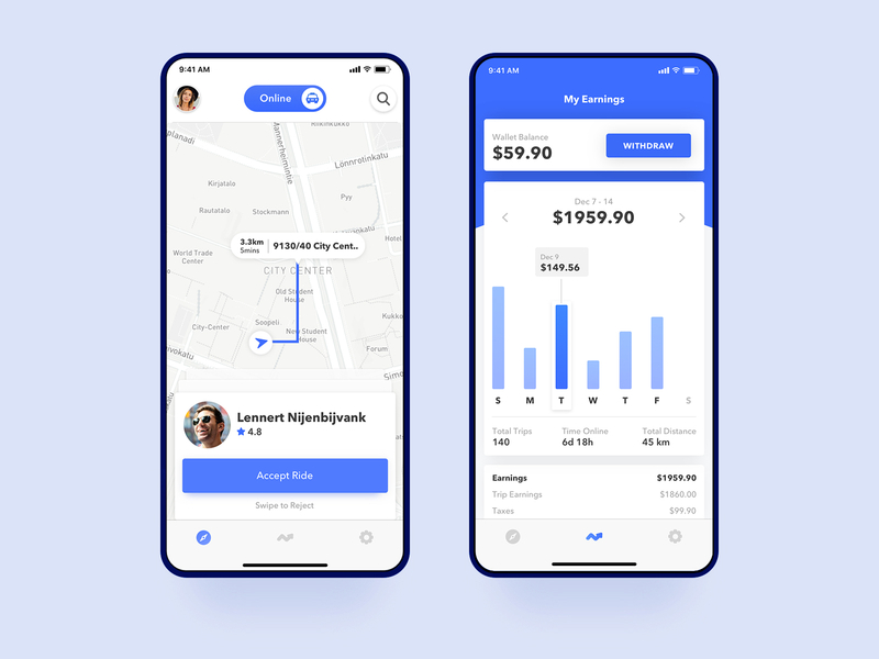 Uber Driver Accept Ride and Earnings Page - UpLabs