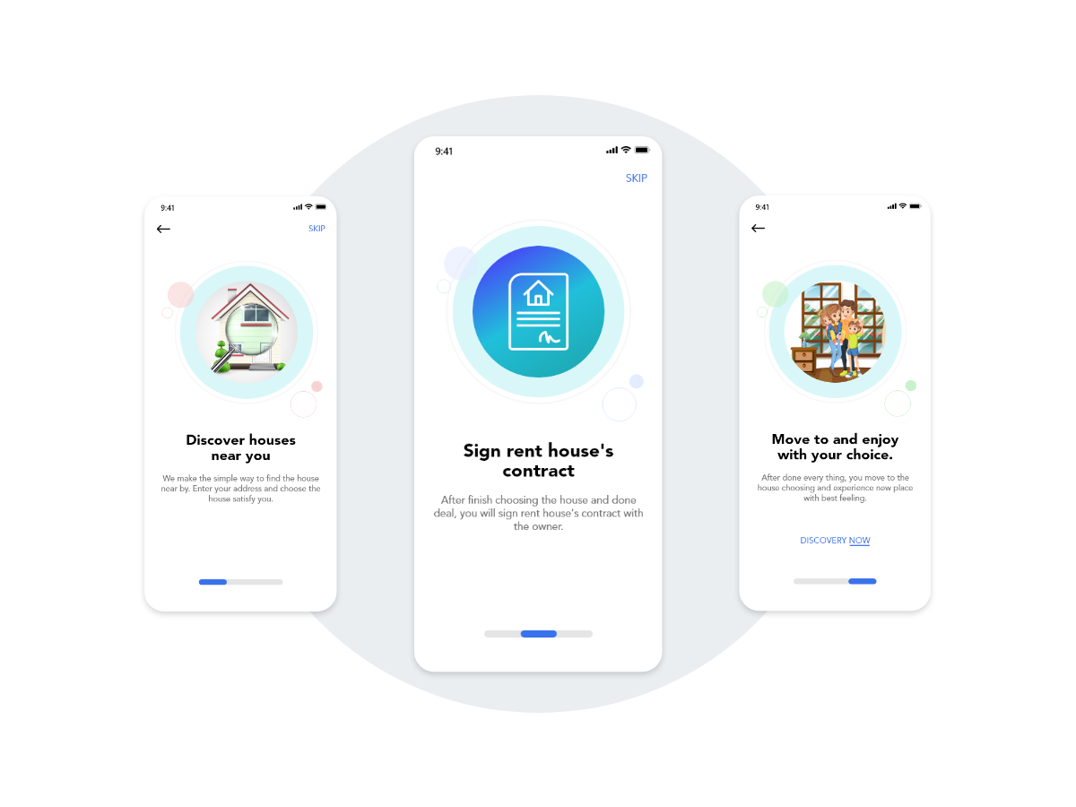 3 Onboarding screens concept for House for Rent app - UpLabs