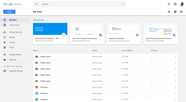 Quick Access in Google Drive for the web