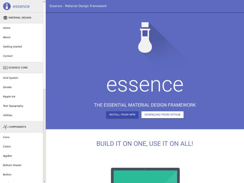 Essence - React Material Design Framework - Uplabs