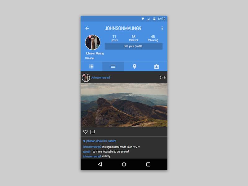 instagram dark mode concept uplabs