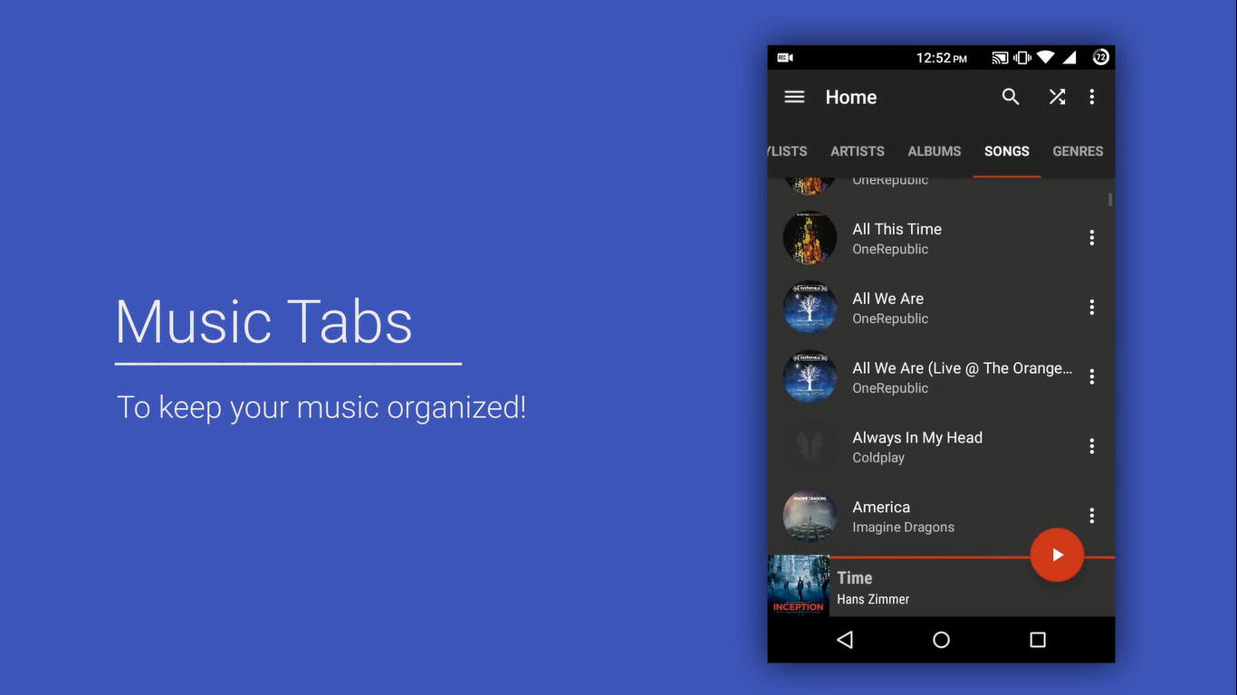 Material Design Music Player Uplabs