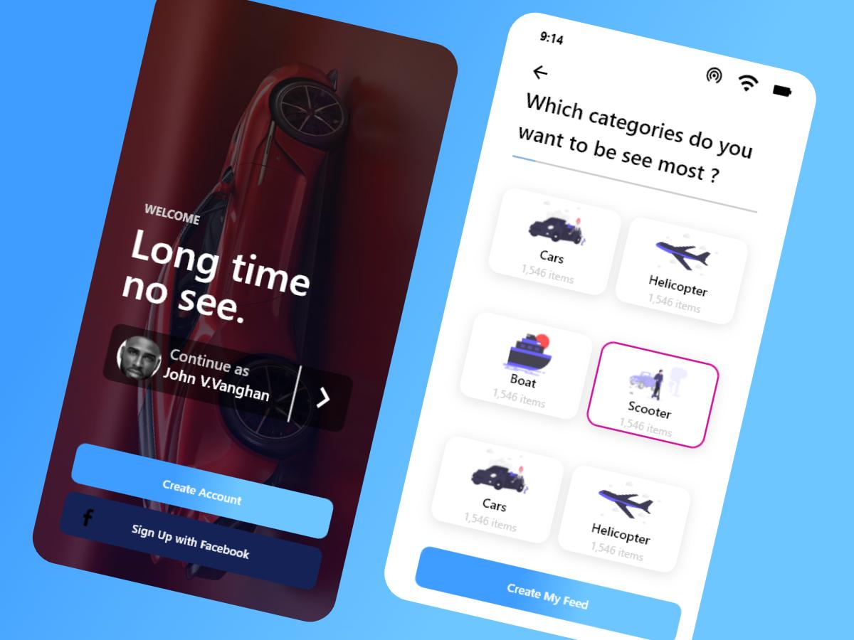 Car Rental App UI - UpLabs