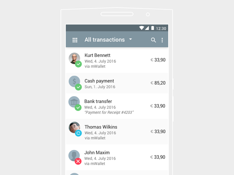 history of ui design Material design transaction history list - Uplabs