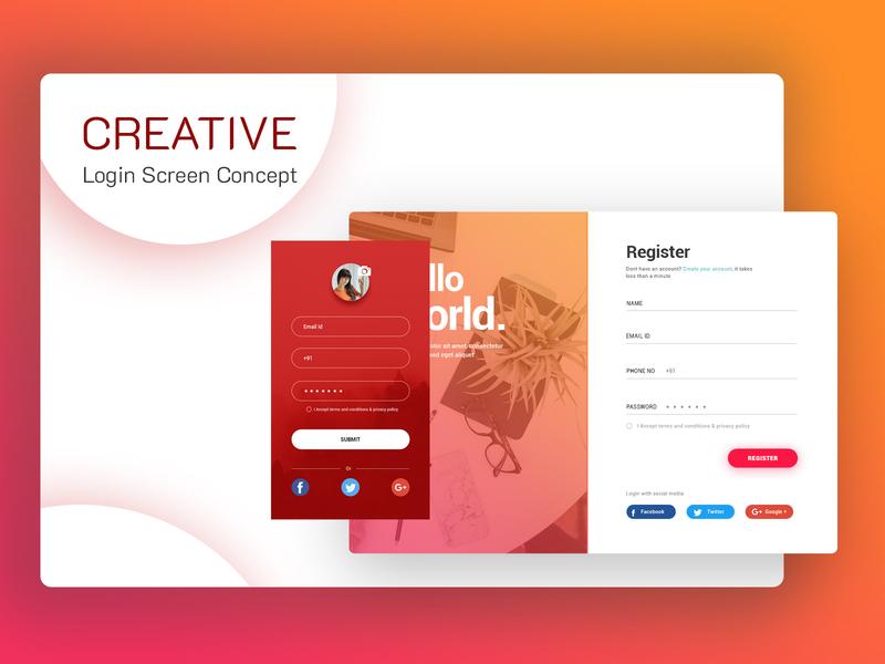Creative Login Page Search By Muzli