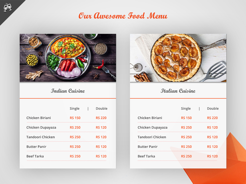 Menu book concept for restaurant website uplabs