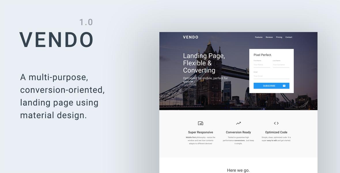 Vendo - Multi-Purpose Material Landing Page – MaterialUp