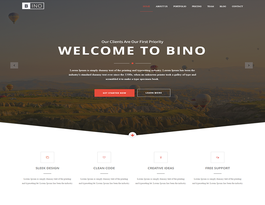 bino free html5 bootstrap landing page template uplabs. Black Bedroom Furniture Sets. Home Design Ideas