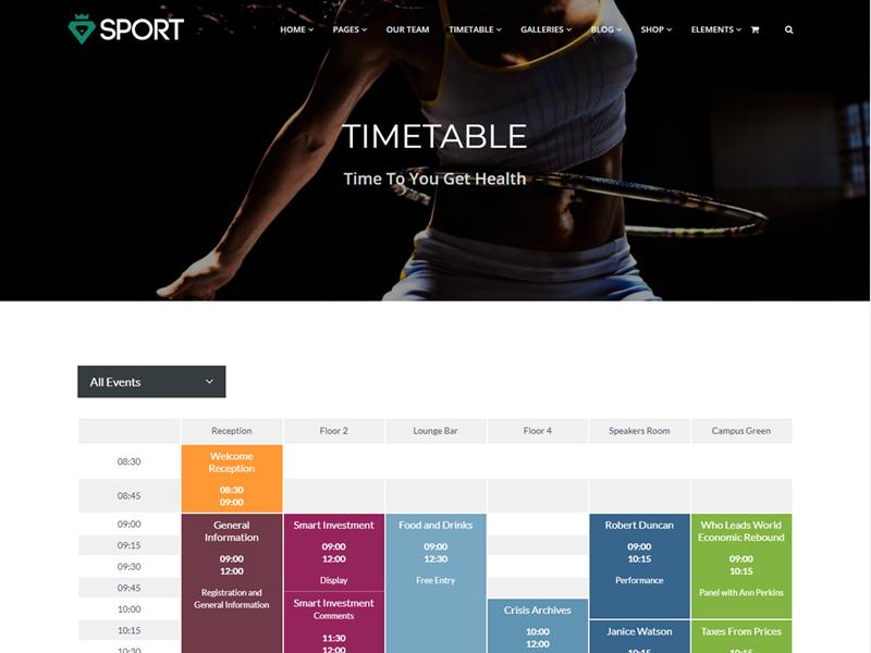 Events Template - Sport WordPress Theme - UpLabs