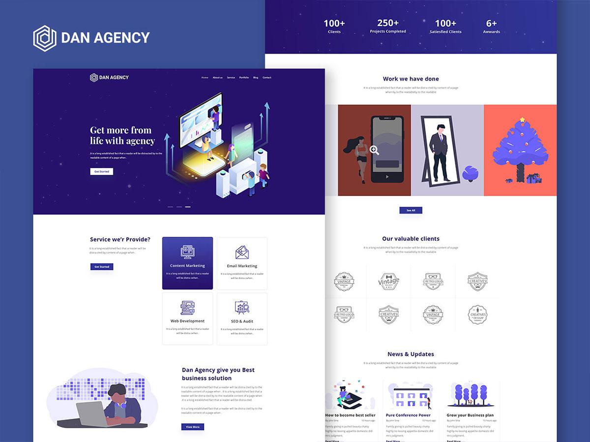Dan Agency Digital Marketing Web Template Free Download Uplabs