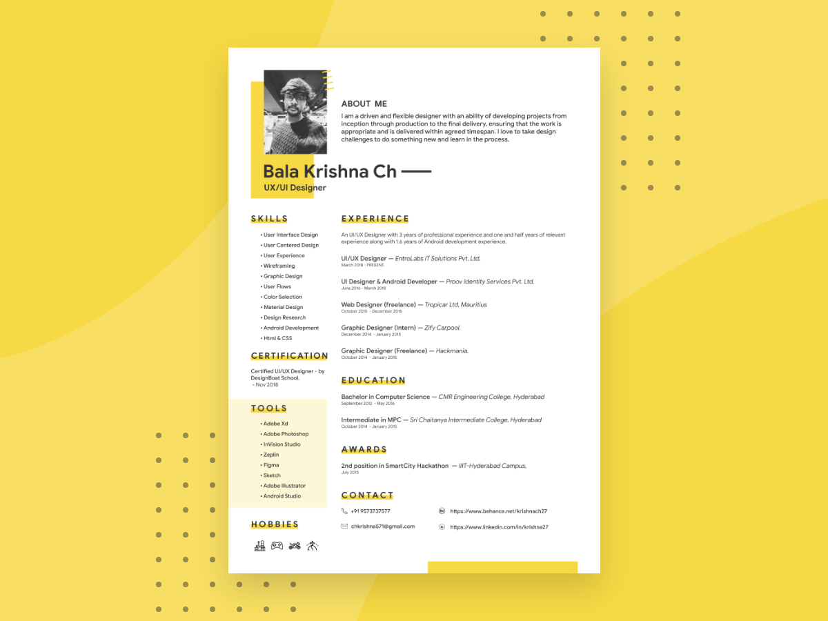 Designer Resume Template Uplabs