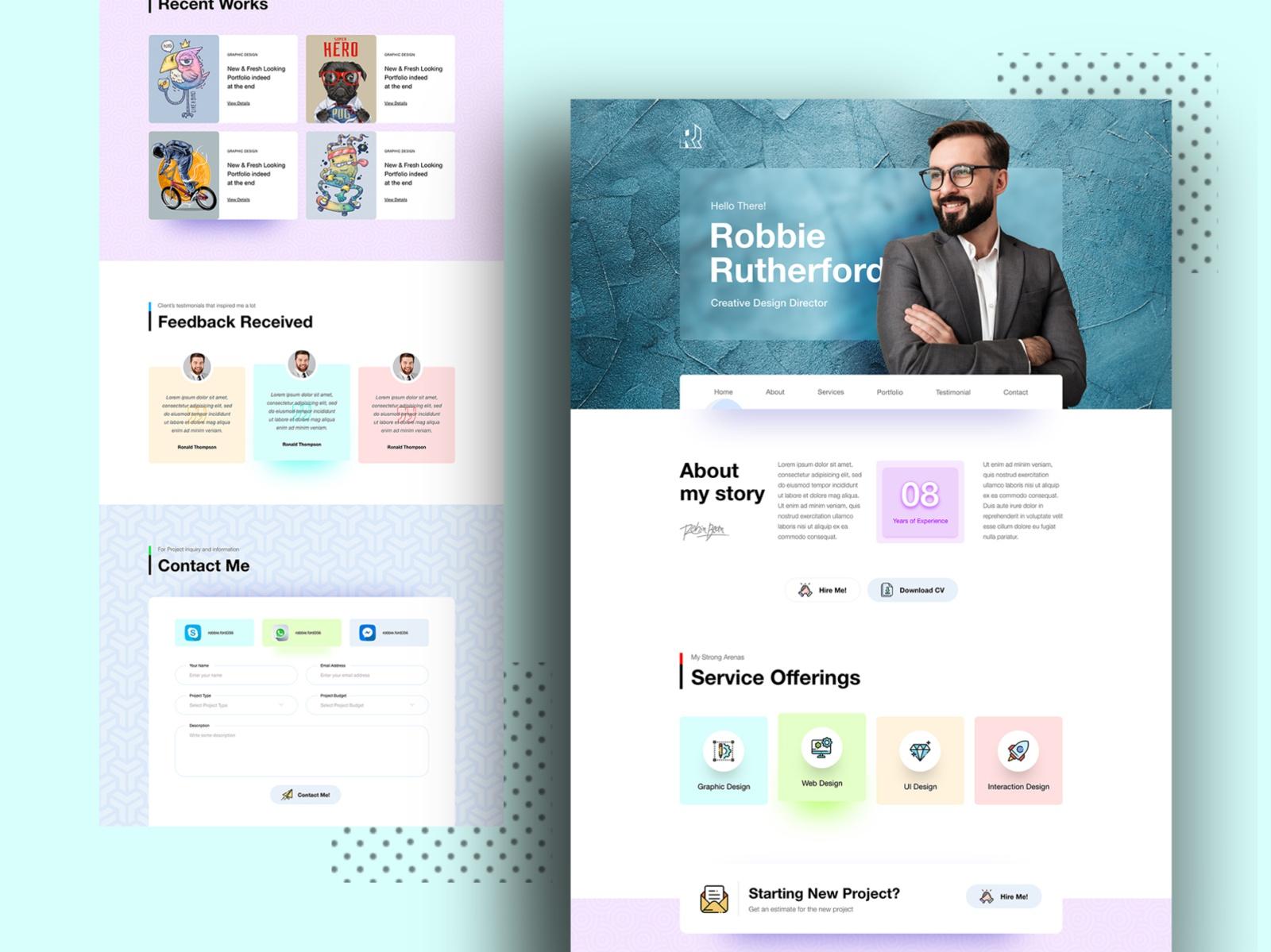 Minimal Personal Portfolio Landing Page Search By Muzli