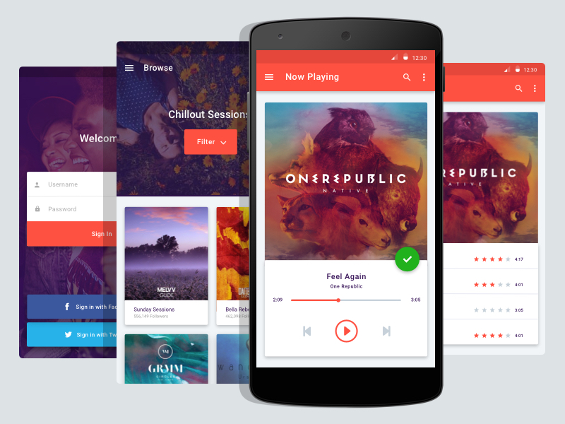 Android Music App Material Design Uplabs
