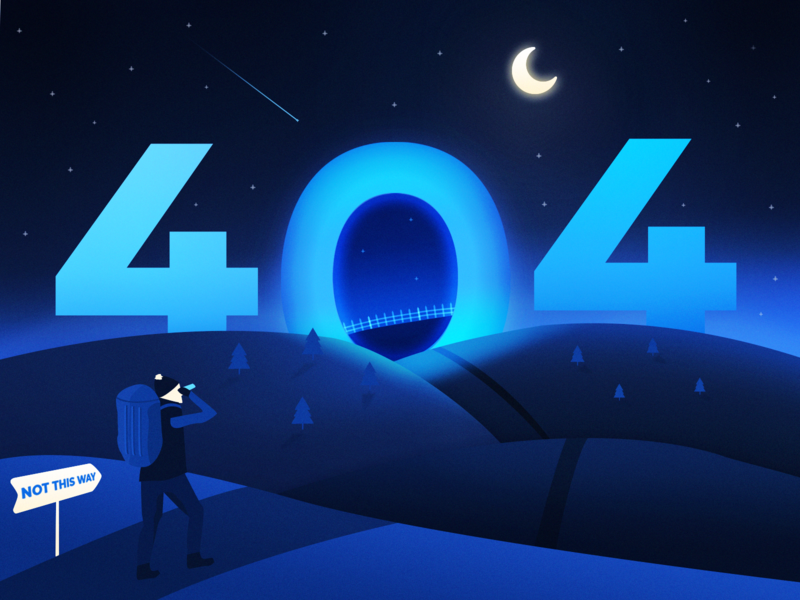 404 error page deisgn example #66: Mysterious night - page 404