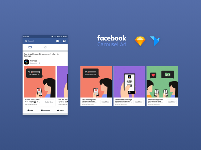mobile app privacy policy template - facebook carousel ad mockup uplabs