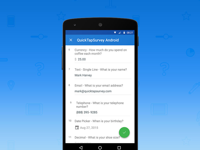 QuickTapSurvey Android app - Uplabs