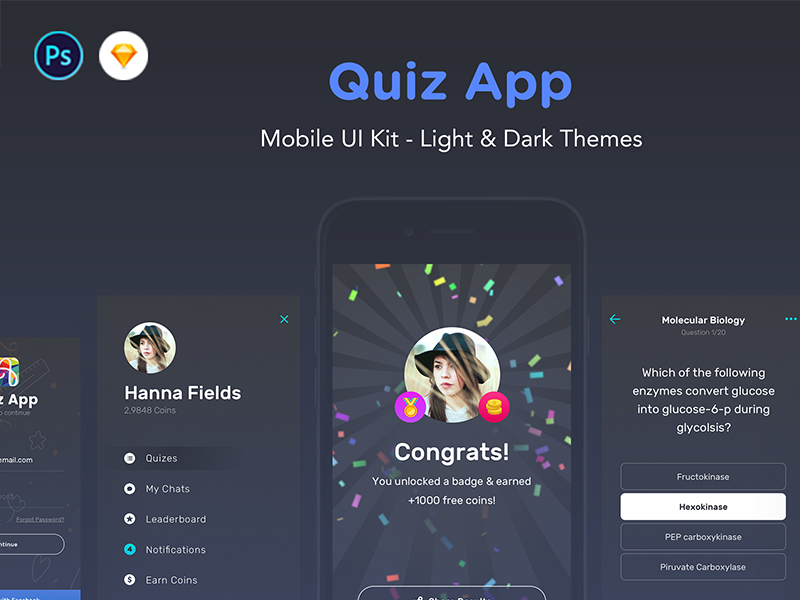 Quiz App - Mobile Trivia Game UI Kit - UpLabs