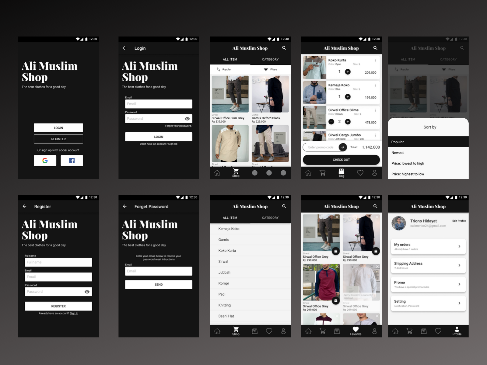 online shop mobile app concept ui design | searchmuzli