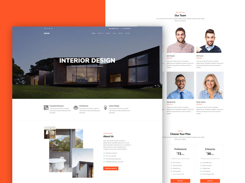 Archs One Page Free Website Template For Interior Design Search By Muzli,Back Neck Simple Embroidery Designs For Blouse