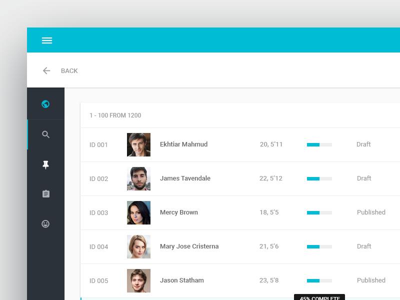 Matchmaker web app design uplabs for Data table material design