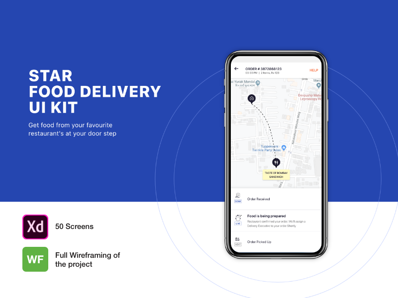 STAR FOOD DELIVERY APP UI KIT WITH 50 Screens - UpLabs