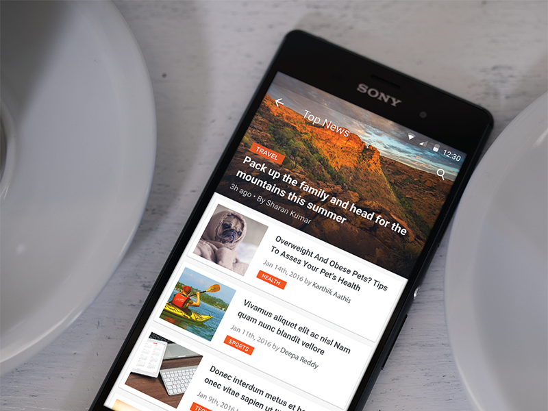 Android - News app - MaterialUp
